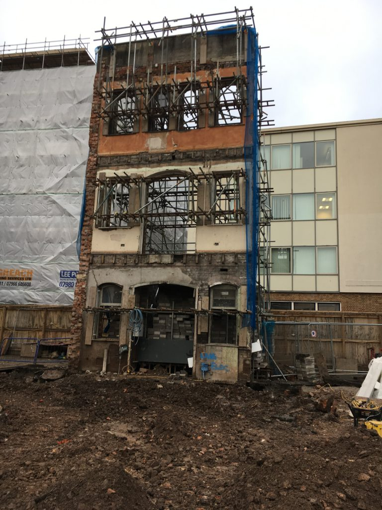 Rear view of facade being monitored