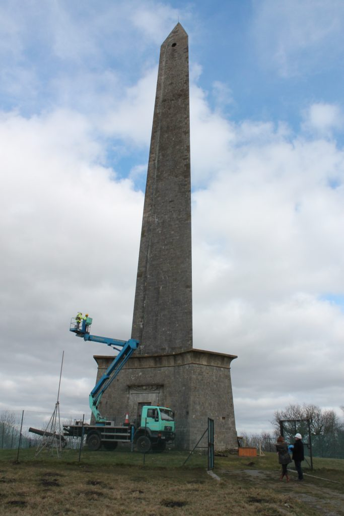 Erecting lower anemometer at monument base